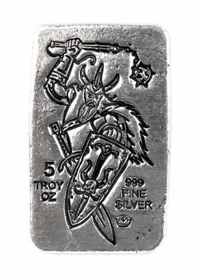 Monarch Precious Metals Viking Warrior 5 oz .999 Fine Silver Poured Bar