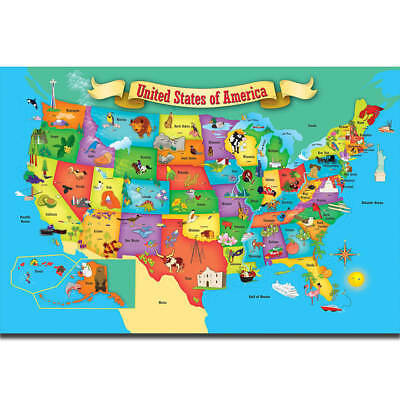 Y-11 Art Poster Kids Education World Map Of USA Geography School -14x21 24x36