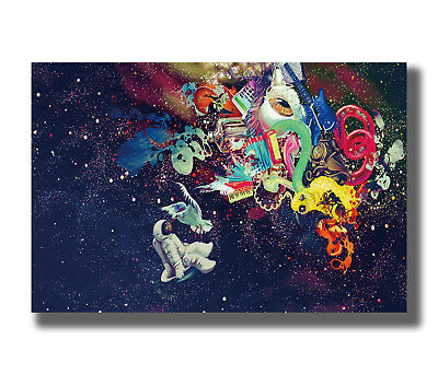 Astronaut History Moon Space Colorful Trippy Psychedelic Hot Poster K-785