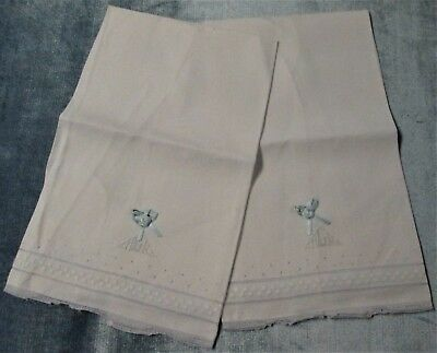 Antique Pair Linen Towels Madeira Style Embroidery A L G Monogram Lot #2