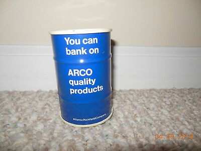 VINTAGE ARCO Atlantic Richfield Co Motor Oil Drum Gas Can Coin Bank Advertising
