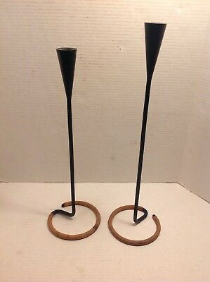 Vintage Mid Century Metal Candle Holder Danish Modern Atomic Minimalist Set Pair