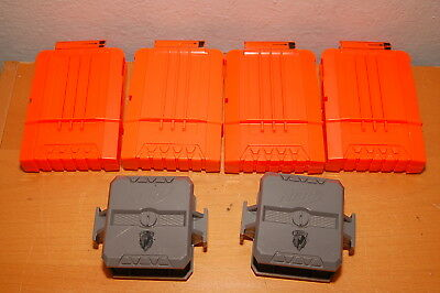 Lot of 4 NERF N-Strike 6-Dart Extra Ammo Clips Magazines Orange w/ Flip Clip Att