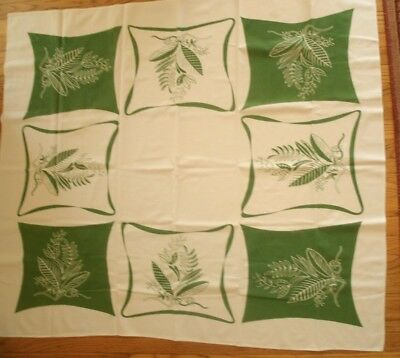 Vintage Cotton Tablecloth Printed Kitchey Mid Century modern green kitchen mcm