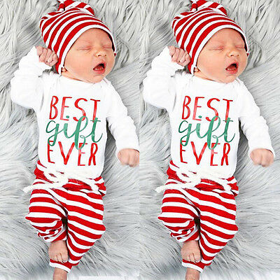 Newborn Xmas Striped Baby Boys Girls Outfit Clothes Romper Top + Long Pants Hat