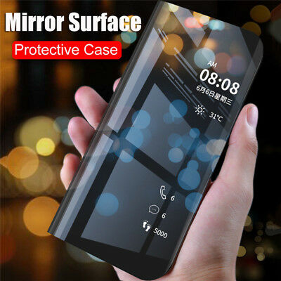 For Huawei P Smart 2019 P20 Lite Smart Clear View Mirror Flip Stand Case Cover