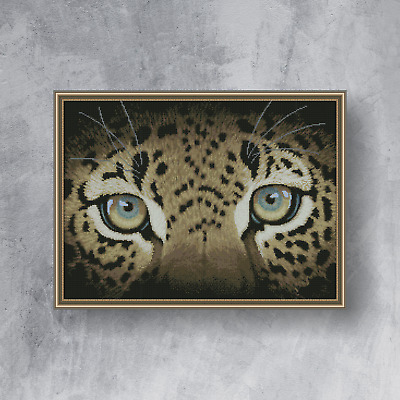 LEOPARD EYES - Completed counted cross stitch kit (with DMC threads)