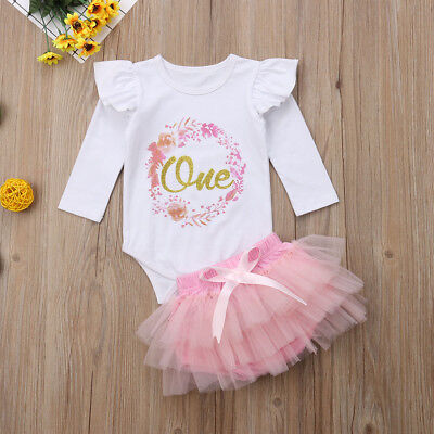 Cute Baby Girl 1st Birthday Party Dress Floral Romper Tutu Skirt Outfit Clothes