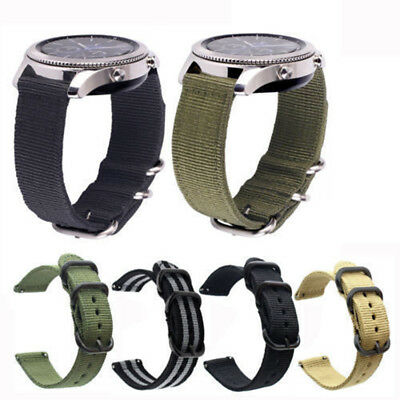 Fashion Sports Nylon Canvas Fabric Watch Bands Strap Belts Black Buckle 20-24mm