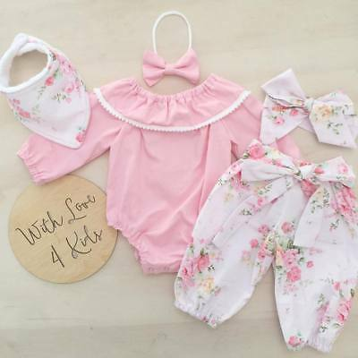 Newborn Baby Girls Fly Sleeve Tops Romper Ruffle Layered Pants Outfits Clothes