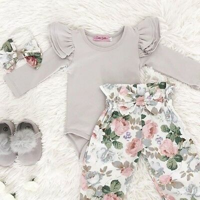 UK Stock Newborn Baby Girl Romper Jumpsuit Pants Headband Warm Outfit Clothes