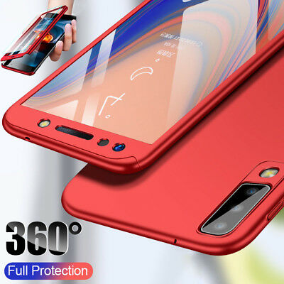 For Samsung Galaxy A7 A8 A6+ 2018 360° Full Protect Case Cover + Tempered Glass
