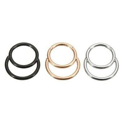 Double Hoop Hinged Gold Nose Ring Lip Ear Surgical Steel Tragus Body Piercing