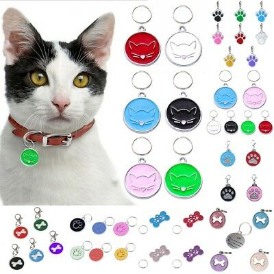 Personalized Pet Dog Cat Cute Face ID Tags Disc Pet ID Name Collar Tag Engraved