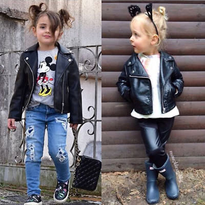 Kids Leather Jackets Jacket Cool Baby Boys Girls Motorcycle Biker Coats Outwear