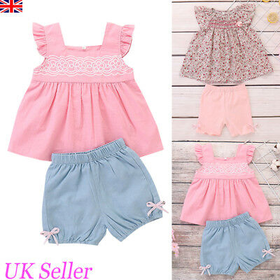 Toddler Baby Kids Girls Clothes Floral Tops T-shirt Shorts Pants Outfits Summer