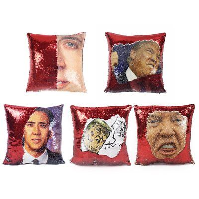 Trump Reversible Pillow Case Magical Nicolas Cage With Sequins Pillow Cover HU