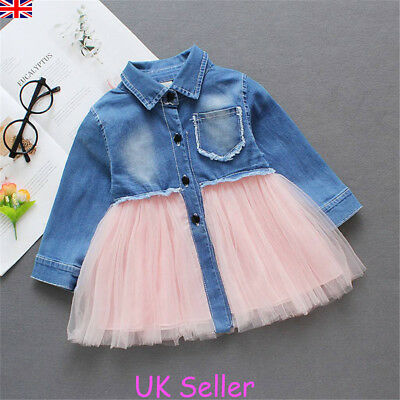 New Toddler Baby Girls Dress Long Sleeve Party Casual Tutu Dresses Kids Clothes