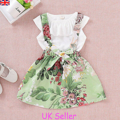 UK Kids Toddle Baby Girls Ruffle Tops T-shirt+Floral Dress Skirt Outfits Clothes