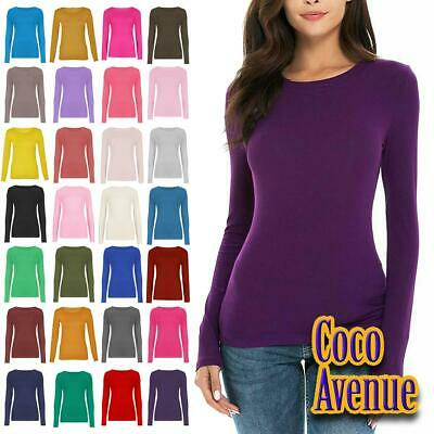 New Ladies Long Sleeve Crew Neck Plain Casual Stretchy Tee Basic Fit T-Shirt Top