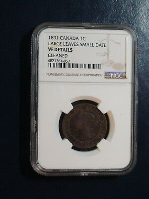 1891 Canada LARGE CENT NGC VF LARGE LEAVES small Date 1C Coin PRICED TO SELL!