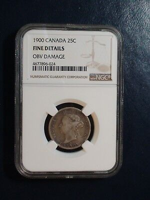 1900 Canada Twenty Five Cents NGC FINE SILVER 25C Coin PRICED TO SELL!