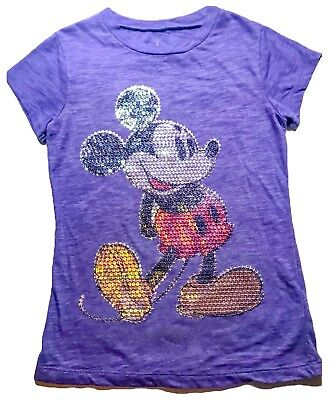 Disney Parks Sequin Mickey Mouse Disneyland Purple Shirt Embroidered Bling XL