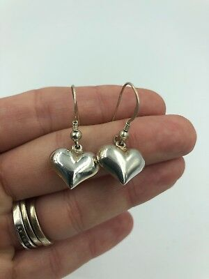 Beautiful Puffy Heart PAIR OF STERLING SILVER DROP EARRINGS#326
