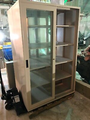 "Tall Laboratory Storage Cabinet, 2 sided, glass sliding doors 48""x36""x76"" 1/2"