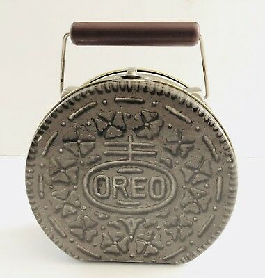Vintage Oreo Tin Lunch Box Or Purse Jelly Box 1990s Vtg Metal Hipster