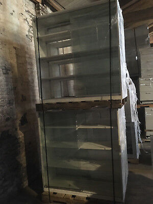 Overhead / Reagent Glass Lab Cabinets with sliding glass doors and shelves 4'x4'