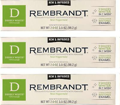 Rembrandt Deeply White + Peroxide Whitening Toothpaste 3.5 oz, 3 Pack,