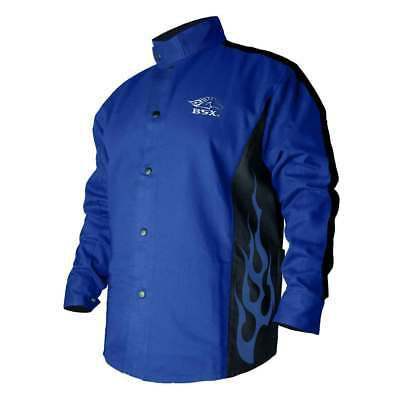 Black Stallion BXRB9C BSX Contoured FR Cotton Welding Jacket, Royal Blue, Medium