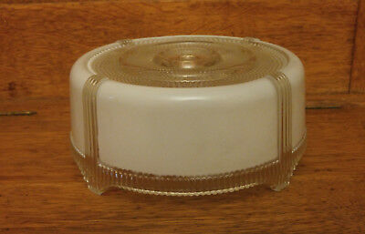 "Vintage Art Deco 8"" White/Clear Glass Flush Mount Ceiling Fixture Shade Cover"