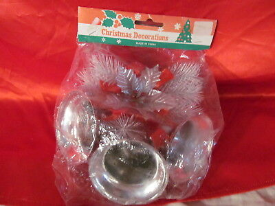 Vintage Silver Bells & Silver Holly & Pine Packaged Christmas Decoartion