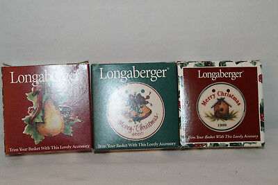New Longaberger Lot Of 3 Holiday Tie-On's,  With Box 1999, 2000, Pear