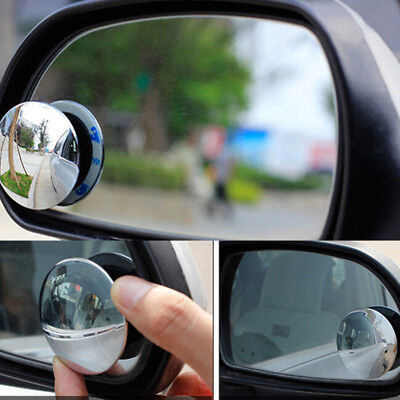2Pcs universal car 360° wide angle convex rear side view blind spot mirror XS