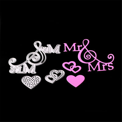 Mr&Mrs Love Metal Cutting Dies Stencils for DIY Paper Cards Scrapbooking FEH