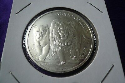 2016 Congo African Lion Coin Round 1 Troy oz .999 Silver (137)