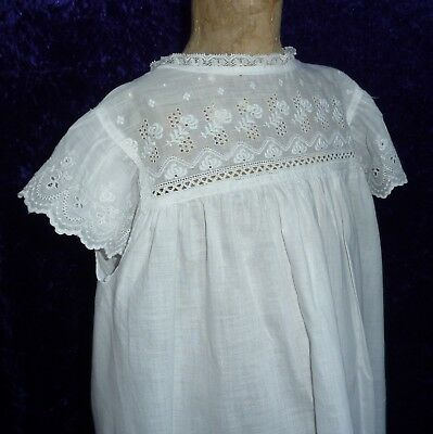 Antique/Vintage Girl's White Cotton Overdress, Open Back Pinafore Dress