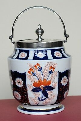 Antique Victorian Imari Pattern Porcelain Cracker/Bisquit Jar, S.P. Lid & Handle