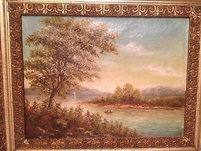 Hudson River School 19th Century Exquisite Painting Native Americans on River!!!