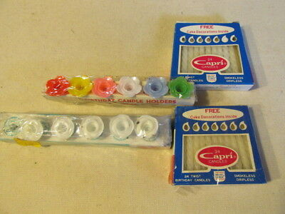 Vintage Capri Birthday Candles And Floral Plastic Holders For Cake 2pkg Ea SY5