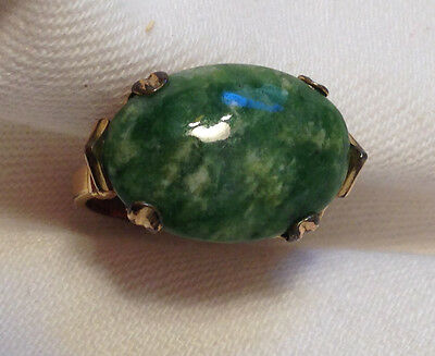 10K G.F. (with star ? marking) jade looking stone ring sz 8 with gift box