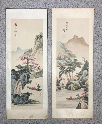 Vintage Japanese Oriental Hand Painted Art on Silk Set of 2 Bonded but Unframed