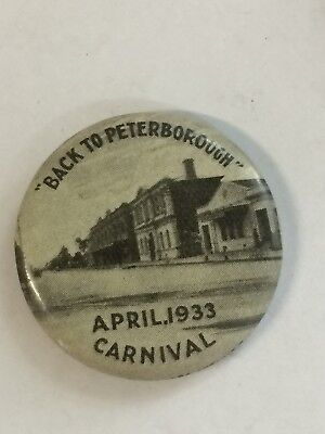 1933 Back To Peterborough Carnival Button Badge Main Street