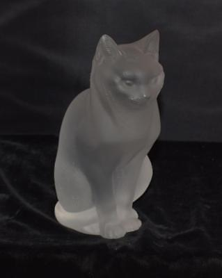 "Crystal Lalique France Figurine  Cat Sitting ""Chat Assis"" - Signed -#11603 -Mint"