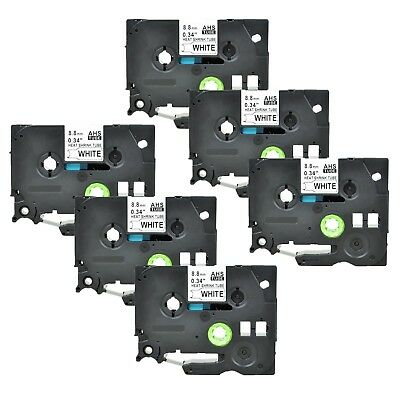 """6PK Heat Shrink Cartridge Label Black on White HSe221 For Brother P-Touch 3/8"""""""