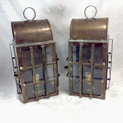 Arts & Crafts Porch Light Sconces Mission Industrial Steampunk Marine Pair Lamps