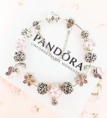 Authentic Pandora Silver Bangle Charm Bracelet With Pink European Charms.